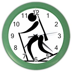 Biathlon Pictogram Color Wall Clocks by abbeyz71