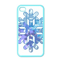 Snowflake Blue Snow Snowfall Apple Iphone 4 Case (color) by Amaryn4rt
