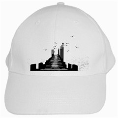The Pier The Seagulls Sea Graphics White Cap by Amaryn4rt