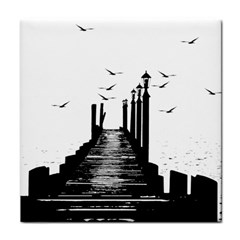 The Pier The Seagulls Sea Graphics Tile Coasters by Amaryn4rt