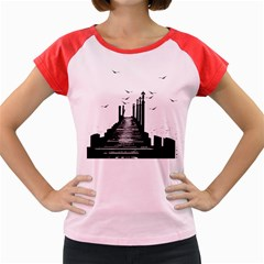 The Pier The Seagulls Sea Graphics Women s Cap Sleeve T Shirt by Amaryn4rt