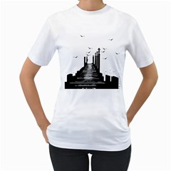 The Pier The Seagulls Sea Graphics Women s T Shirt (white) (two Sided) by Amaryn4rt