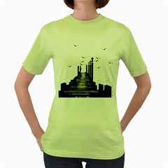 The Pier The Seagulls Sea Graphics Women s Green T Shirt by Amaryn4rt