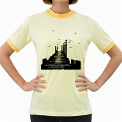 The Pier The Seagulls Sea Graphics Women s Fitted Ringer T Shirts by Amaryn4rt