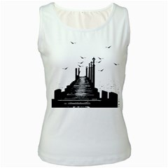 The Pier The Seagulls Sea Graphics Women s White Tank Top by Amaryn4rt