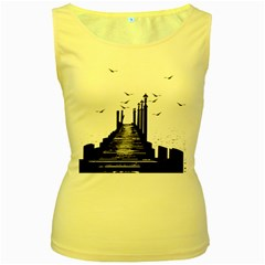 The Pier The Seagulls Sea Graphics Women s Yellow Tank Top by Amaryn4rt