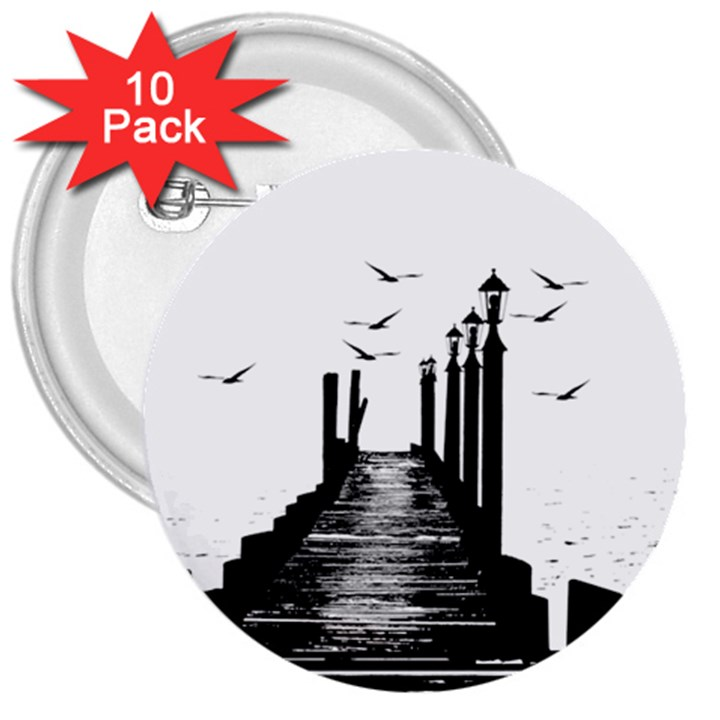 The Pier The Seagulls Sea Graphics 3  Buttons (10 pack)
