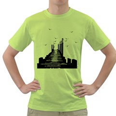 The Pier The Seagulls Sea Graphics Green T Shirt by Amaryn4rt