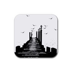 The Pier The Seagulls Sea Graphics Rubber Coaster (square)