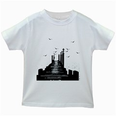 The Pier The Seagulls Sea Graphics Kids White T Shirts by Amaryn4rt