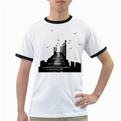 The Pier The Seagulls Sea Graphics Ringer T Shirts by Amaryn4rt