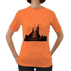 The Pier The Seagulls Sea Graphics Women s Dark T Shirt by Amaryn4rt