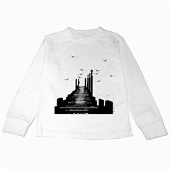 The Pier The Seagulls Sea Graphics Kids Long Sleeve T Shirts by Amaryn4rt