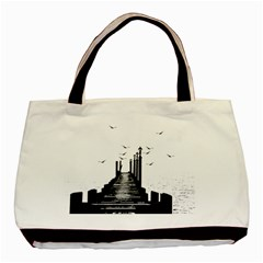 The Pier The Seagulls Sea Graphics Basic Tote Bag by Amaryn4rt