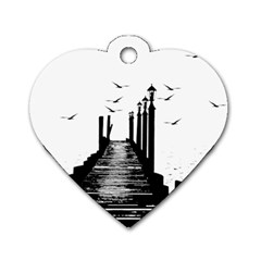 The Pier The Seagulls Sea Graphics Dog Tag Heart (one Side) by Amaryn4rt