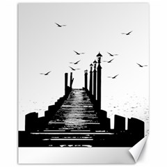 The Pier The Seagulls Sea Graphics Canvas 11  X 14