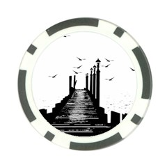 The Pier The Seagulls Sea Graphics Poker Chip Card Guard by Amaryn4rt