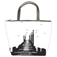 The Pier The Seagulls Sea Graphics Bucket Bags by Amaryn4rt