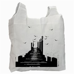 The Pier The Seagulls Sea Graphics Recycle Bag (two Side)  by Amaryn4rt