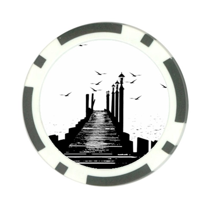 The Pier The Seagulls Sea Graphics Poker Chip Card Guard (10 pack)
