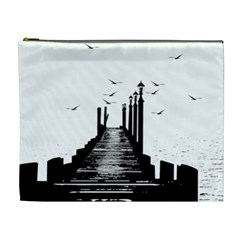 The Pier The Seagulls Sea Graphics Cosmetic Bag (xl) by Amaryn4rt