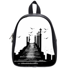 The Pier The Seagulls Sea Graphics School Bags (small)  by Amaryn4rt