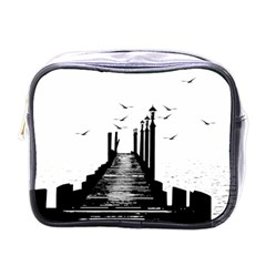 The Pier The Seagulls Sea Graphics Mini Toiletries Bags by Amaryn4rt