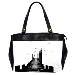 The Pier The Seagulls Sea Graphics Office Handbags (2 Sides)  by Amaryn4rt