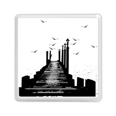 The Pier The Seagulls Sea Graphics Memory Card Reader (square)  by Amaryn4rt