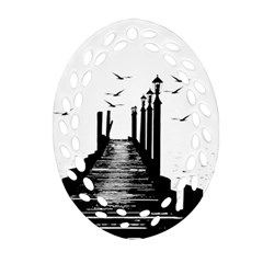 The Pier The Seagulls Sea Graphics Oval Filigree Ornament (two Sides) by Amaryn4rt