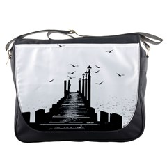 The Pier The Seagulls Sea Graphics Messenger Bags by Amaryn4rt