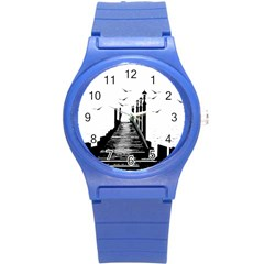 The Pier The Seagulls Sea Graphics Round Plastic Sport Watch (s) by Amaryn4rt