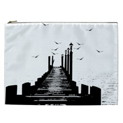 The Pier The Seagulls Sea Graphics Cosmetic Bag (xxl)  by Amaryn4rt