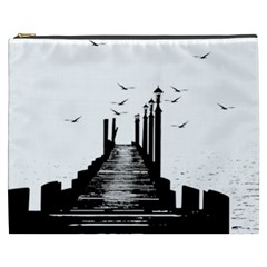 The Pier The Seagulls Sea Graphics Cosmetic Bag (xxxl)  by Amaryn4rt
