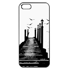 The Pier The Seagulls Sea Graphics Apple Iphone 5 Seamless Case (black) by Amaryn4rt