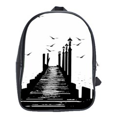 The Pier The Seagulls Sea Graphics School Bags (xl)  by Amaryn4rt