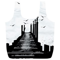 The Pier The Seagulls Sea Graphics Full Print Recycle Bags (l)  by Amaryn4rt