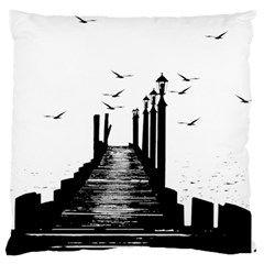 The Pier The Seagulls Sea Graphics Large Flano Cushion Case (two Sides) by Amaryn4rt