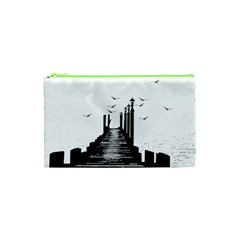 The Pier The Seagulls Sea Graphics Cosmetic Bag (xs) by Amaryn4rt