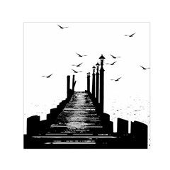 The Pier The Seagulls Sea Graphics Small Satin Scarf (square) by Amaryn4rt
