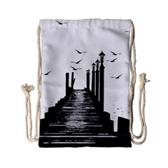 The Pier The Seagulls Sea Graphics Drawstring Bag (small) by Amaryn4rt