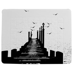 The Pier The Seagulls Sea Graphics Jigsaw Puzzle Photo Stand (rectangular) by Amaryn4rt