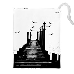 The Pier The Seagulls Sea Graphics Drawstring Pouches (xxl) by Amaryn4rt
