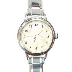 Background Light Line Texture Round Italian Charm Watch