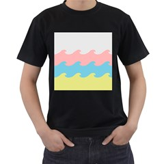 Wave Waves Pink Yellow Blue Men s T-shirt (black) (two Sided) by Jojostore