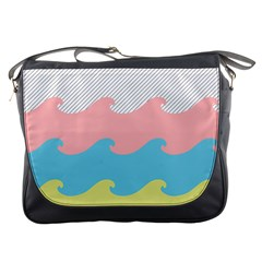 Wave Waves Pink Yellow Blue Messenger Bags