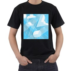 Blue Sky Men s T-shirt (black) (two Sided) by Jojostore