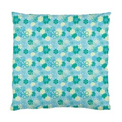 Blue Floral Flower Standard Cushion Case (one Side) by Jojostore