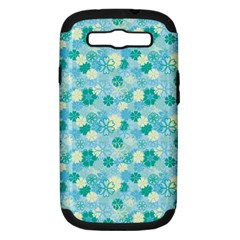 Blue Floral Flower Samsung Galaxy S Iii Hardshell Case (pc+silicone) by Jojostore