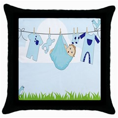 Baby Boy Clothes Line Throw Pillow Case (black) by Nexatart